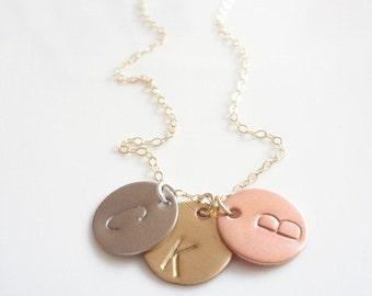 Three Hand Stamped, 3 Initial Monogram Discs, Copper, Silver, Gold Filled Chain Necklace, Charms, Personalized, Keepsake, Handmade Jewelry