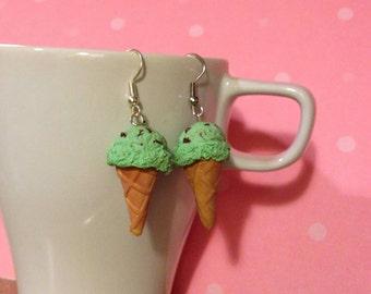 Mint Chocolate Chip Ice Cream Earrings, Miniature Food Jewelry