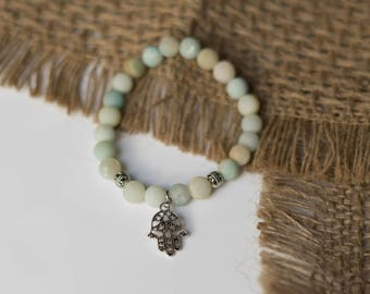 Amazonite Beaded Bracelet w/ Hand of Hamsa Charm