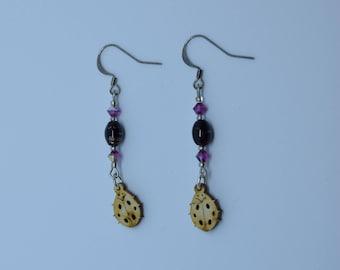 Earrings lucky ladybugs wood, and Aventurine beads