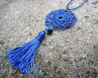 Long, baroque, vintage textile necklace, pendant, blue, denim