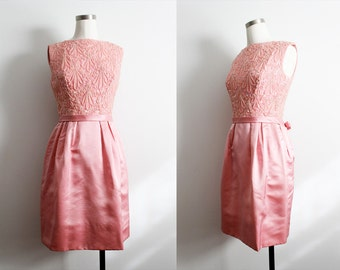 1950s Pink Sequin & Metallic Embroidered Satin Dress w/ bow
