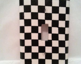 Racing Flag Light Switch Plate Cover. Switchplate. Switch Plate Cover. Electrical plate cover. Black and white check.  Lighting.  Checkered.