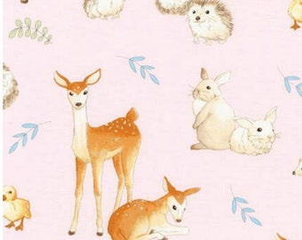 Fawns and Friends Robert Kaufman Fabrics in Pink - Deer, Bunnies, Rabbits, Animal Fabric