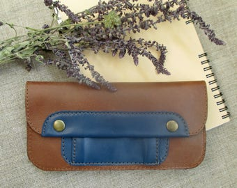 Leather minimalist wallet slim Brown wallet coin purse women's long phone wallet Leather Accessories purse travel card wallet gift girl