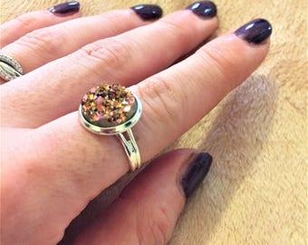 Rainbow-gold  faux Druzy ring, Druzy ring, Statement ring, Glitter ring item 945 by CraftyLittleMonkeyGB