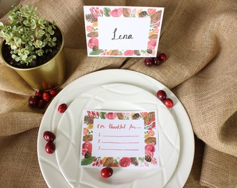 FREE Printable Holiday Place Cards and I'm Thankful Cards Thanksgiving