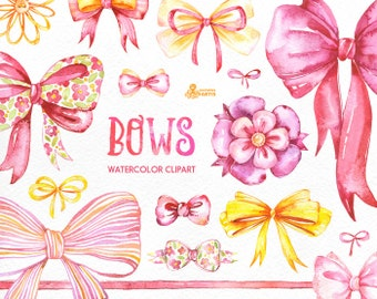 Bows. 26 Watercolor handpainted clipart, diy elements, invitation, gift box, bowknot, bead, decorations, clip art, quote posters, ribbons