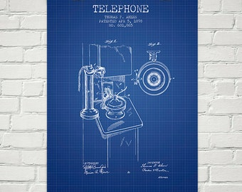 1898 Telephone Patent Wall Art Poster, Home Decor, Gift Idea