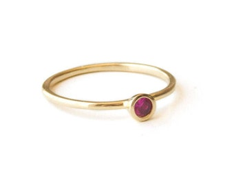 Ruby Ring, Gold Filled Ring, Dainty Stacking Ring, Delicate Ring, July Birthstone Ring, Mothers Ring, Personalized Ring, Thin Gold Ring