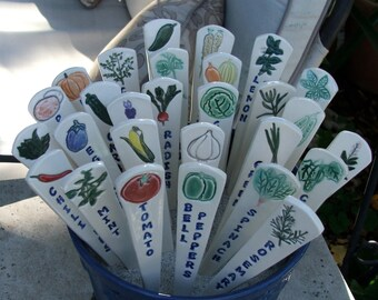 twelve Ceramic Garden Markers, Individually Hand Painted Vegetables