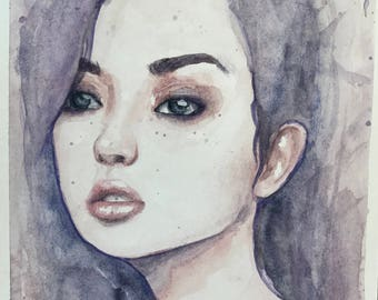 Original Watercolor Painting Portrait of a Girl