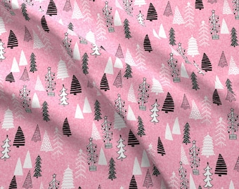 Festive Trees Fabric - Christmas Tree Forest Fabric Cute Holiday Trees By Andrea Lauren - Lines Cotton Fabric By The Yard With Spoonflower