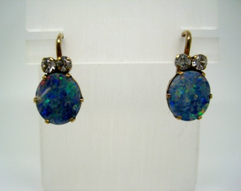 Vintage opal and white sapphire earrings