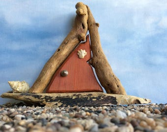 Orange Beachcomber Fairy Door with Sea Shells