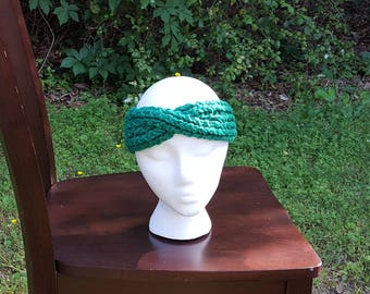 Kelly Green Ear Warmer with a Twist