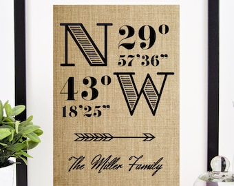 Latitude Longitude Burlap Print | Perfect Gift for Housewarming, Graduation Gift, or Going Away Present | Personalized Gift by Chatham Place