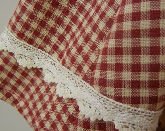 American Girl Doll Handmade Gingham Pinafore Dress Lace Trim 1940s Era Period Baby AG 18 inch Clothes Accessory