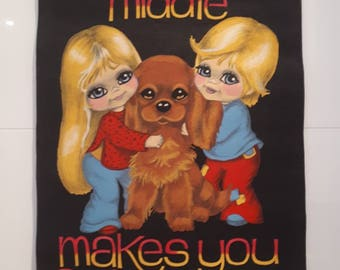 Gorgeous blonde big eye boy, girl and dog wall hanging/banner Hobbytex 1970s