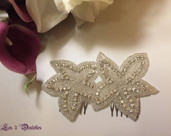 Lace wedding Crystal rhinestone Hair Combs * 3 lace *.
