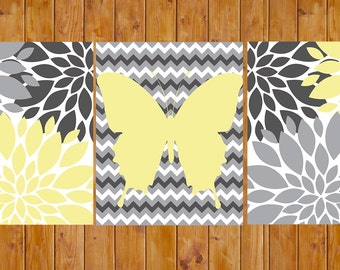 Flower Burst Gray Yellow Butterfly Chevron Set of 3 Wall Baby Decor Bedroom Bathroom 8x10 JPG Files DIY Printable Instant Download (176)