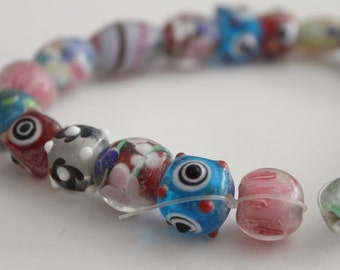 Lampwork glass mixed beads 7-21mm (22)