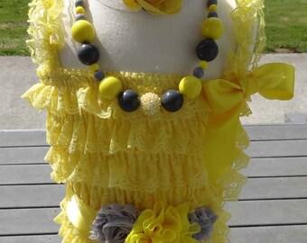 Yellow Romper,Lace Romper, Sach, Lace Romper, Petti Romper, Lace Petti Romper 4pc Petti Romper, Baby Petti Romper, Toddler Petti Romper