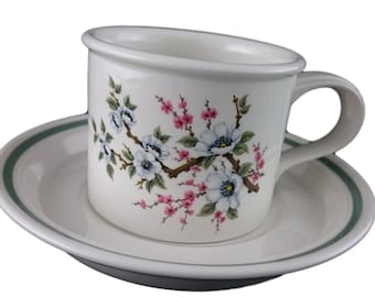 White Almond Blossom by Portmeirion Cup & Saucer Duo
