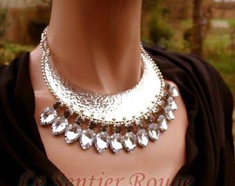 MINA silver rhinestone bib necklace