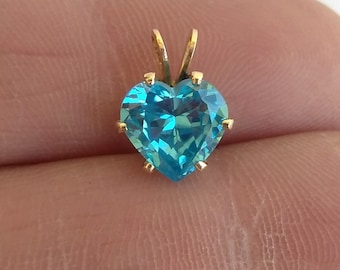 Vintage Estate 2.5 Carat Blue Topaz Heart Pendant in 14k Yellow Gold
