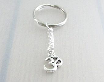 Om Charm Keychain, Silver Om Keyring, Yoga Charm Keychain, Aum Keychain, Ohm Keyring, Yoga Gift