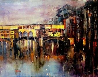 Ponte Vecchio bridge in Florence, Italy.  Ponte Vecchio art.  Painting Ponte Vecchio Italy art.  Watercolor Italy art.  Watercolor giclee