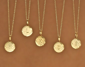 Gold letter necklace - initial necklace - alphabet necklace - name necklace - a stamped letter gold disc on a 14k gold vermeil chain