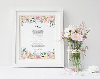 Personalised Mum Print - Mummy Poem - Mum Print - Mother Poem - Mother Print - Personalised Print - Mum Gift - Mother Gift (UNFRAMED)