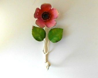 Vintage Enameled Metal Flower Wall Hanging Hook Country Cottage Shabby