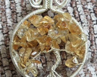 Handmade silver-wired pendant tree of life pendant, citrine tree of life pendant, citrine chips pendant, anniversary pendant, gift for her,