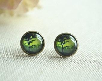 Dawn earrings,Tree and flying birds post earring,Life tree Earrings ,ear stud, jewelry buy 3 get 1 free (EH029)