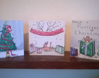 Funny Cat Christmas Cards: 3 Designs, Set of 6