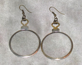 Optical Lens Earrings, Vintage Optical Lens Earrings for Pierced Ears, OOAK Hoop Earrings Handmade by Lenore Salazar, Antique Optical Lenses