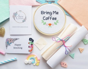Bring Me Coffee Cross Stitch Kit - Coffee Gift Ideas - Coffee Cross Stitch - Funny Coffee Gifts - Coffee Sign - Coffee Embroidery Kit