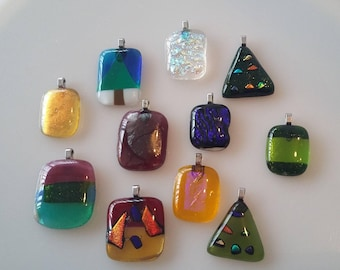 Fused glass pendant with silver chain