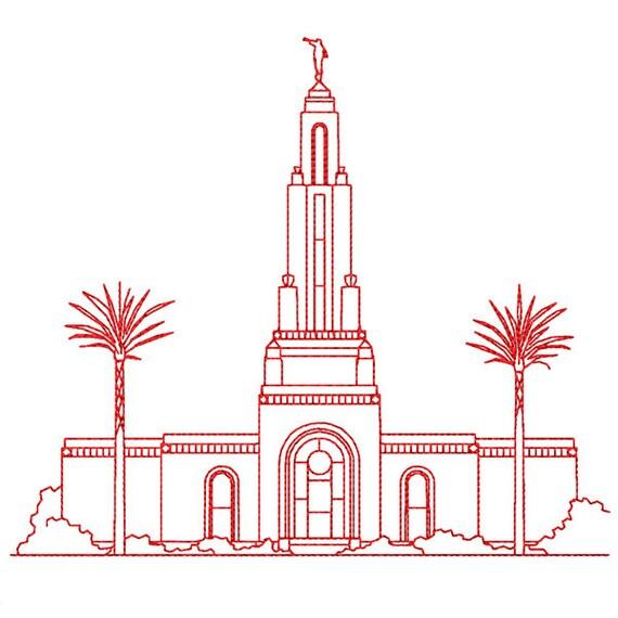Redlands California Lds Temple Redwork Embroidery Design