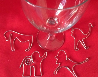 Magical Africa Wine Charms-Set of 4-Elephant, Gorilla, Lion and Ostrich