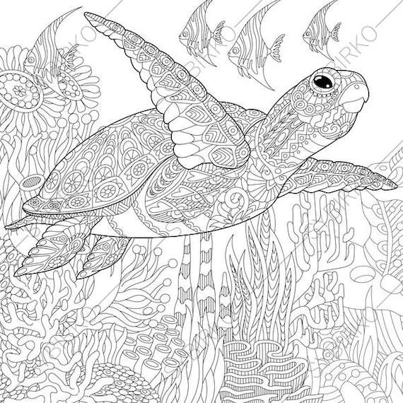 ocean world turtle 3 coloring pages animal coloring book pages for adults instant download print - Turtle Coloring Pages For Adults