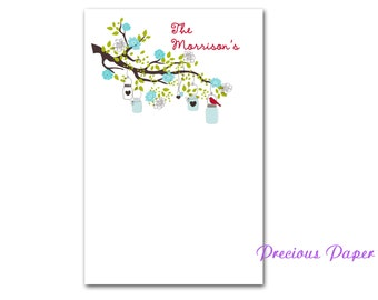 Personalized blue bird on a branch notepads bird and tree notepads Personalized Teacher note pads Personalized teacher gift