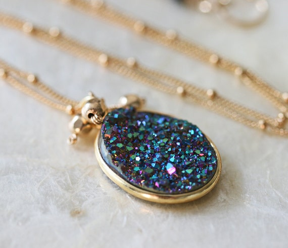 Blue Druzy Necklace on Gold Filled Satellite Chain