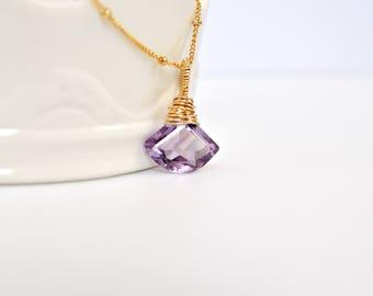 Amethyst Necklace, Amethyst Pendant Necklace, Fan Shape Gemstone, Wire Wrapped Gemstone, Gold Station Chain Necklace, Purple Gemstone