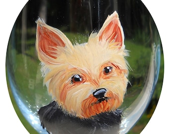 CUSTOM Yorkshire Terrier Wine Glass ~ OOAK Birthday Gift ~ Girlfriend Gift ~ From YOUR Photos ~ Yorkie Glass ~ Mini Pet Portrait