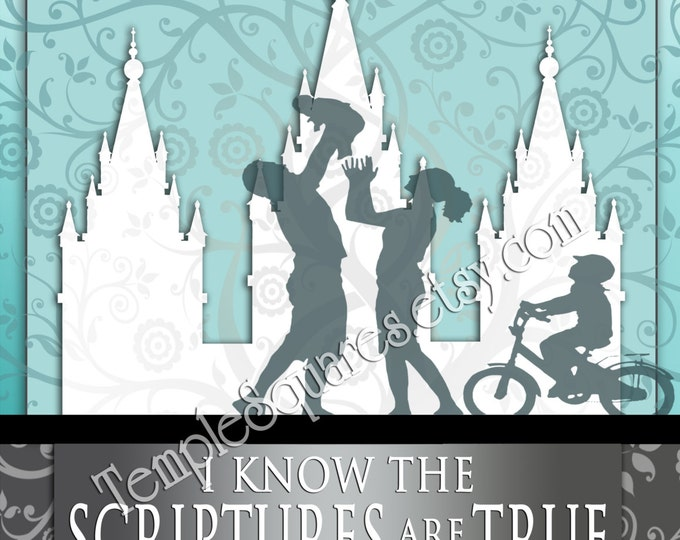 I Know the Scriptures Are True Primary 2016 theme to frame or print as handouts. Colorful aqua tree of life, family and LDS temple art
