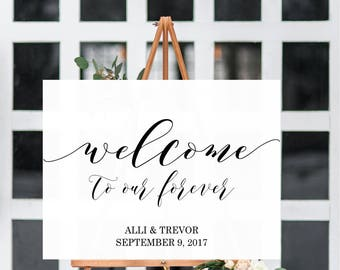 Welcome To Our Forever Poster Wedding Poster Print Poster Wedding Easel Sign Ceremony Decor Wedding Decor Home Decor Wedding Sign Reception